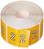 BARKLEY COMPATIBLE BKNM-2 Bknm Color Code Numeric 2'' Label, 1-1/2 x 1-1/2, Yellow Permanent (Pack of 500)