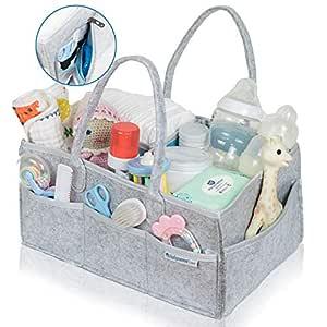 Waterproof Baby Diaper Caddy Organizer by Babysense Care   Foldable Basket Nursery Essentials Storage Bin for Changing Table   Car Travel Portable Holder Bag ● Light Grey & Light Blue Inner