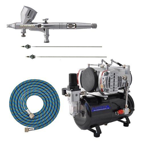 MASTER Airbrush G44 Pro Set with AirBrush-Depot TC-828 Twin Piston Air Compressor w/ Tank
