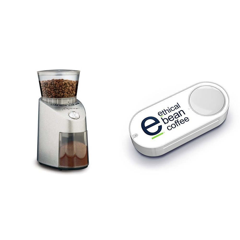Capresso 565.05 Infinity Conical Burr Grinder, Stainless Steel & Ethical Bean Coffee Dash Button