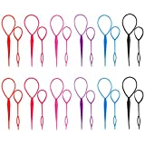 Sumind 12 Sets Plastic Pull Hair Pin Hair Braid Ponytail Maker Styling Tool, 6 Colors, Totally 24 Pieces
