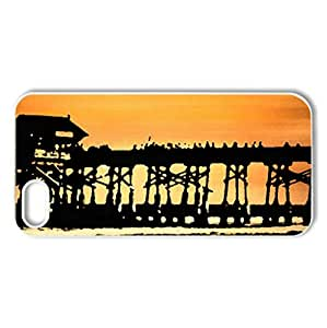 lovely fishing pier at sunset - Case Cover for iPhone 5 and 5S (Bridges Series, Watercolor style, White)