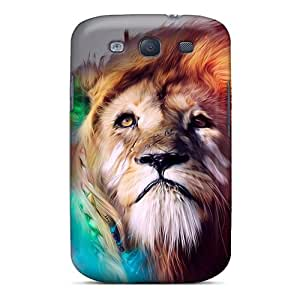 New Premium Wade-cases Lion Abstract Skin Case Cover Excellent Fitted For Galaxy S3