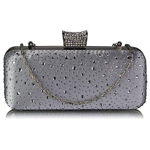 Trendstar las mujeres embrague tarde bolsas para mujer diseño con destellos, las partes De nuevo en sacos boda - plata