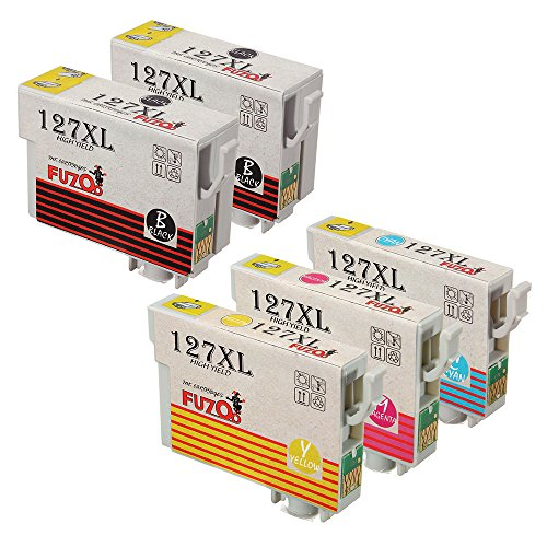 FUZOO 5-Pack Replacement for Epson 127 Ink Extra High Yield Used in Epson workforce WF-3540 WF-3520 WF-7520 WF-7510 WF-7010 WF-3530 545 645 635 633 630 845 840 60, Epson Stylus NX625 NX530