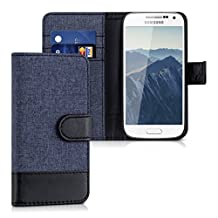 kwmobile Wallet case canvas cover for Samsung Galaxy S4 Mini - Flip case with card slot and stand in dark blue black