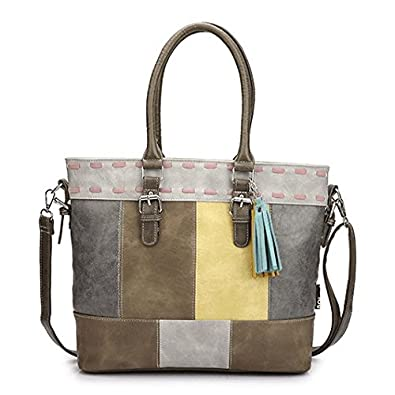 29c838fb3284d Noi-Noi Farbenfrohe Damen-Handtasche Umhängetasche Shopper aus PU Leder im  angesagtem Patchwork-