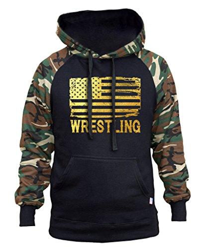 (Interstate Apparel Men's Gold Foil Wrestling American Flag Black/Camo Raglan Baseball Hoodie Medium Black)