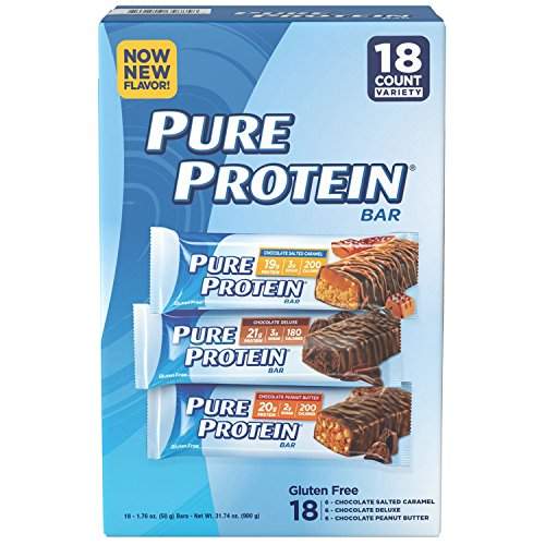 Pure Protein Bars, Healthy Snacks to Support Energy, Chocolate Variety Pack, 18 Count