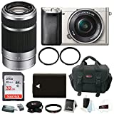 Cheap Sony Alpha a6000 Mirrorless Camera w/ 16-50mm & 55-210mm Lens Bundle and 32GB SD Card Bundle (Silver)