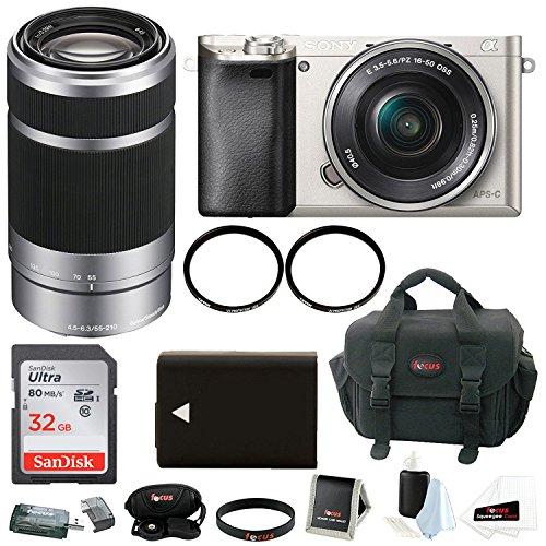 Sony Alpha a6000 Mirrorless Camera w/ 16-50mm & 55-210mm Lens Bundle and 32GB SD Card Bundle (Silver)