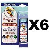 Badger SPF 35 Baby Sunscreen Stick .65oz Waterproof Chamomile/Calendula (6-Pack)