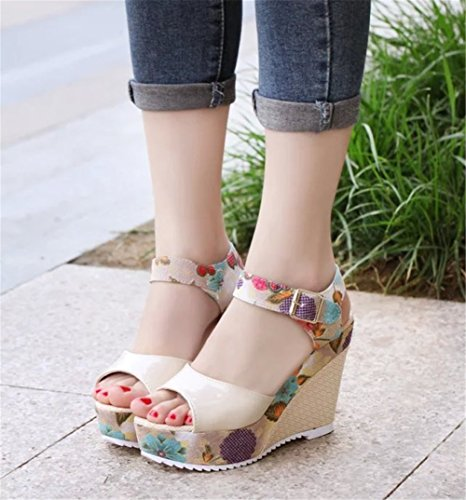 con unita con sandali Scarpe alto tinta da tacco donna sandali la suola estate coreano plateau dolce da SHINIK di bocca pesce zeppe C scarpe sandali con piatte con 0P1wqYP