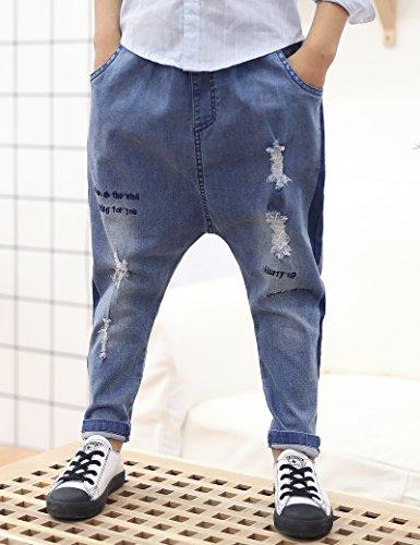 lorpops Boys¡¯ Punk Style Baggy Harem Elastic Waist Jogging Hip Hop Dance Sport Pants Plus (Blue, 5T) by lorpops (Image #1)