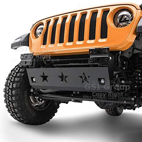 - GSI Black Textured Black Front Bumper Extreme Star Skid Plate for 18-19 Jeep JL Wrangler 2018-2019 (Black)