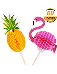 TecUnite 60 Pieces Flamingo Pineapple Party Supplies Cupcakes Toppers Cocktail Picks Cake Decoration for Luau Hawaii Birthday Wedding Beach Party