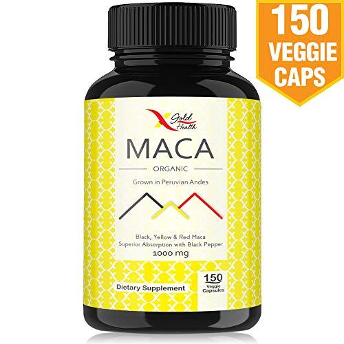 Organic Maca Root Powder Capsules Black, Yellow, Red -1000mg Serving Peruvian Maca for Men & Women, Superfood, Natural Energy Booster, 150 Vegan Pills Gelatinized + Black Pepper for Best ()