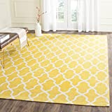 Safavieh CDR233B-5 Cedar Brook Handmade Yellow and Ivory Cotton Area Rug, 5-Feet by 8-Feet