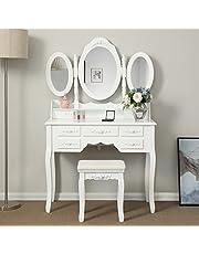 Songmics RDT91W Schminktafel met 3 spiegels en kruk, 7 laden incl. 2 stuks onderverdelers, kantelbeveiliging, luxueus, 145 x 90 x 40 cm, wit