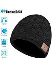 HANPURE Bluetooth Beanie Hat Mens Gifts - Bluetooth Hat Women Mens Beanie Hats with Bluetooth 5.0 Headphones, Bluetooth Beanie Winter Running Hat Washable Unisex Fishing Gifts for Men
