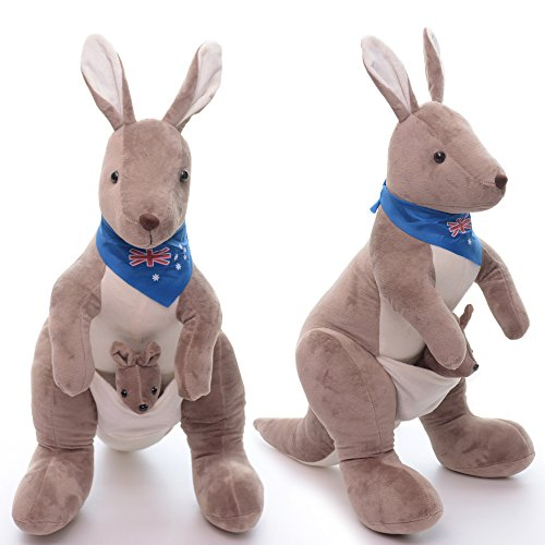 Australia Dress Up (Gloveleya Mom Kangaroo with Baby Plush Stuffed Animal Dolls Toys Wear Blue Scarf 11 Inches)