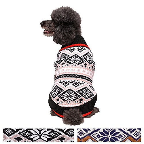 Blueberry Pet Nordic Pattern Inspired Fair Isle Black and White Snowflakes Dog Sweater, Back Length 20