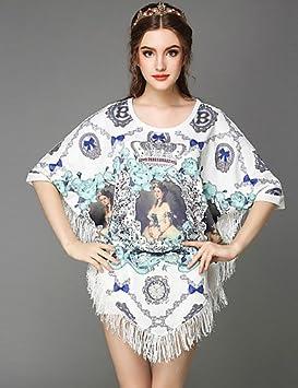 Mujer Vestidos Casual 2016 Verano Verano Mujer Vintage Étnico Cuentas corte Girl Impresión Borlas Loose Plus