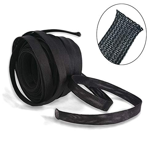Wang-Data PET Black Braided Cable Sleeve 1 inch X 100ft (1