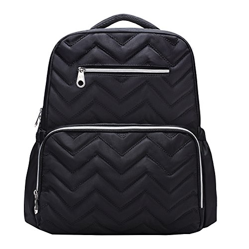 SoHo Blake Diaper Backback Bag 5Pc Chevron, Black
