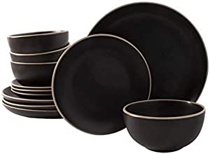 Gibson Home Rockaway Round Stoneware Dinnerware Sets, Service for 4 (12pcs), Black