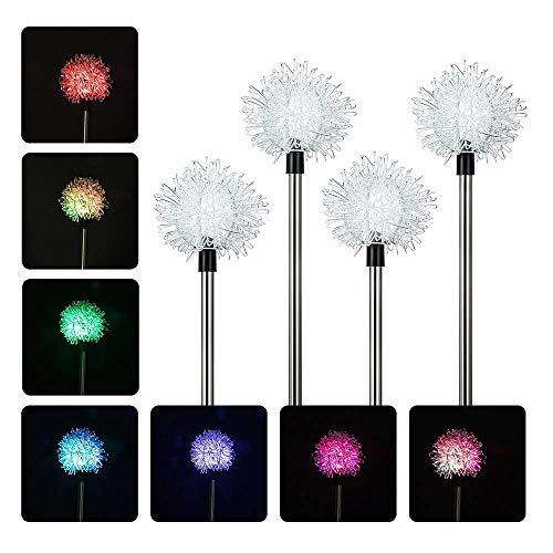 Outdoor Solar Garden Stake Lights for Christmas, 4 Pack Metal Multi-Color Changing LED Solar Powered Light/Lamps with Dandiloions Flowers, Decorative Art for Garden/Patio/Yard/Landscaping – Great Gift For Sale