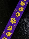 Polyester Grosgrain Ribbon for Decorations, Hairbows & Gift Wrap by Yame Home (7/8-in by 10-yds, 00093985 - yellow paw prints w/purple background)