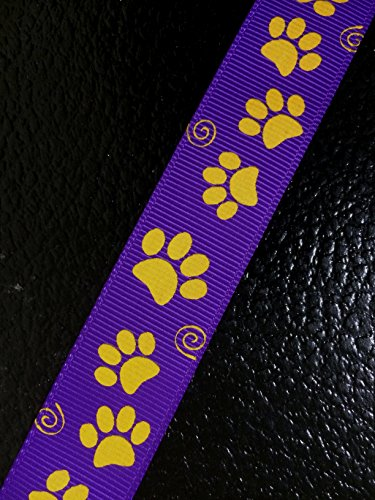 Polyester Grosgrain Ribbon for Decorations, Hairbows & Gift Wrap by Yame Home (7/8-in by 10-yds, 00093985 - yellow paw prints w/purple background) by Yame Home