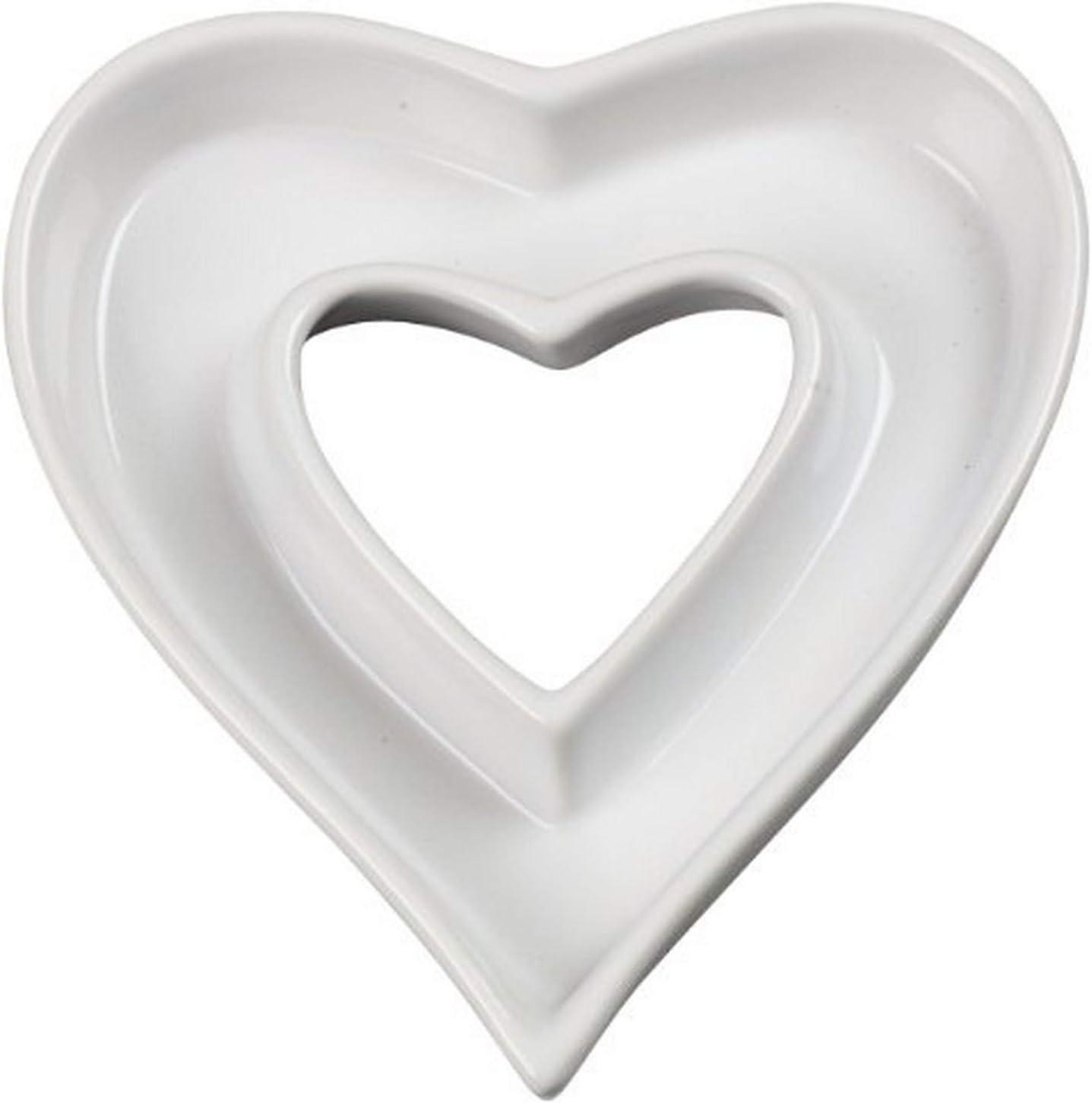 Ivy Lane Design Ceramic Love Letter Dish, Heart Shape, White