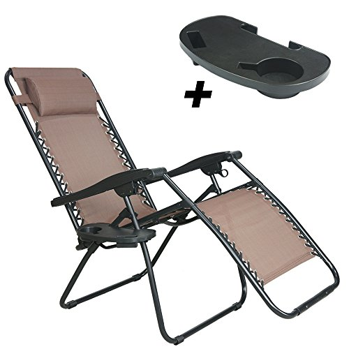 PARTYSAVING Infinity Zero Gravity Outdoor Lounge Patio Pool Folding Reclining Chair (Brown)