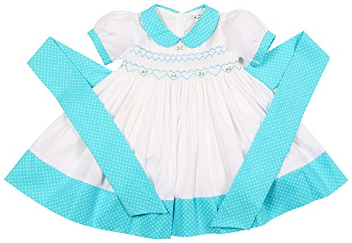 Hand Smocked Bishop Dress (Babeeni Smocked Dresses For Girls White and Turquoise Colors Featured With Geometric Hand-Embroiderd Patterns On Chest and Peter Pan Collar (18M))