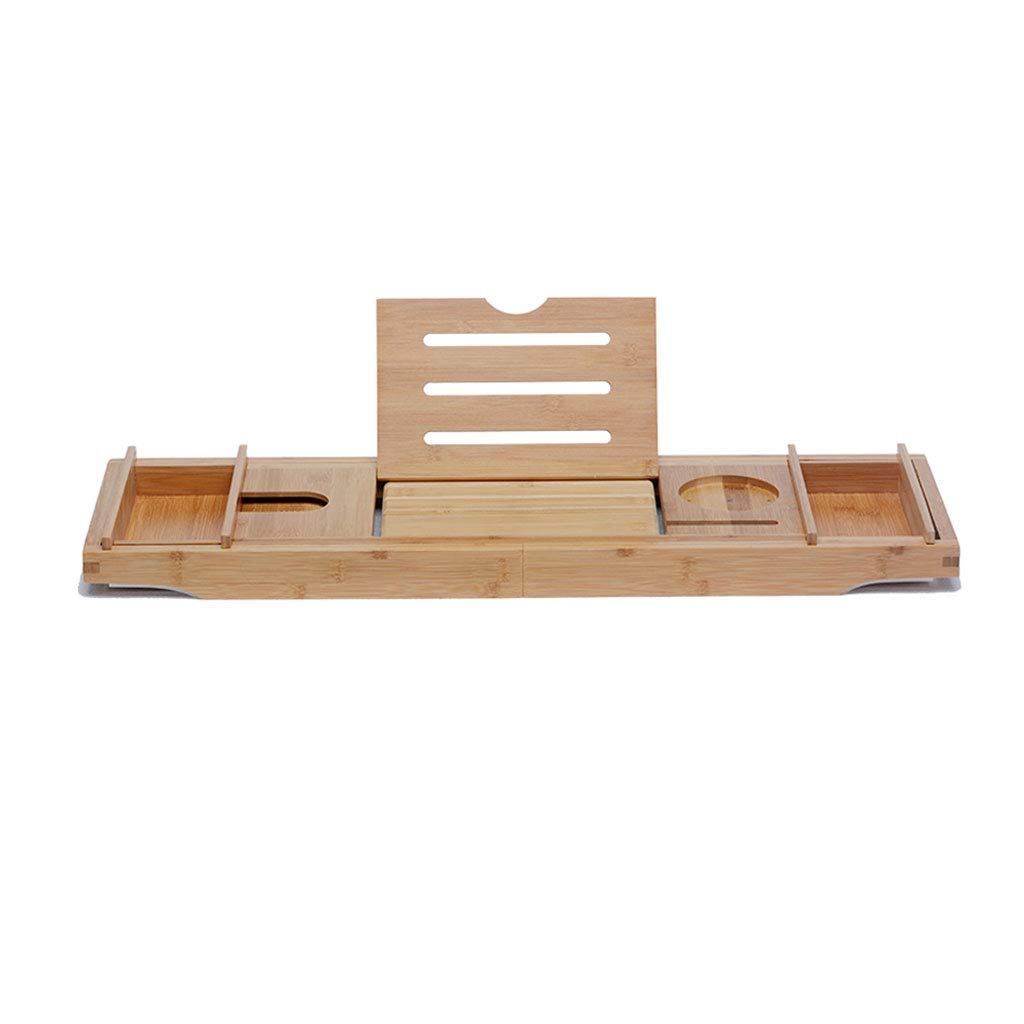 Red red Shop Bathtub Shelf Anti-Skid Bath Rack Adjustable Telescopic Bath tub Bracket Bamboo-Wood Bathtub Tray Bath Rack Bamboo Baffle Single Bracket Box RRS by RRS Bathtub shelf (Image #1)