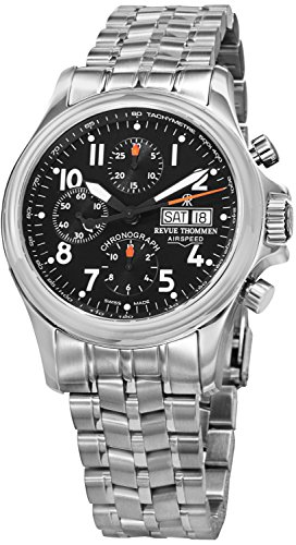 Revue Thommen Air Speed Pilot Men's Black Dial Stainless Steel Automatic Chronograph Day Date Swiss Watch 17081.6137
