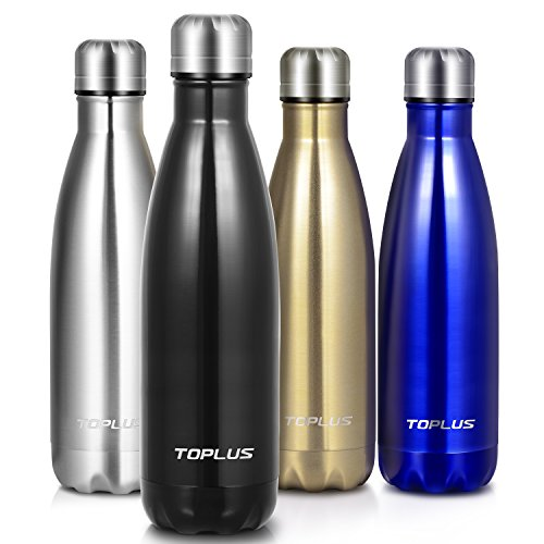 Toplus Vacuum Insulated Stainless Steel Water Bottle, Leak-proof Double Wall Cola Shape Travel Water Bottle for School, Outdoors, Camping, Hiking, Cycling, 17 Oz , Black