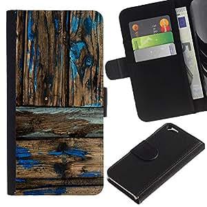 KLONGSHOP // Tirón de la caja Cartera de cuero con ranuras para tarjetas - Modelo de madera rústica Usada pintura - Apple Iphone 6 //