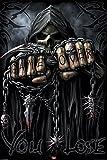 Spiral Assassin Grim Reaper With Guns Revolvers Skeleton Death Fantasy Horror Biker Poster 24x36