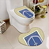 aolankaili Heart shaped foot pad 2 Pieces Set Door with Ottoman Persian Influences Islamic Culture Design Blue in Bathroom toilet Mats