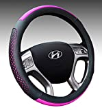 Microfiber Leather Car Steering Wheel Cover 15 inch Universal Auto Interior Accessories Protector Anti-Slip Black and Fushcia (black and purple)