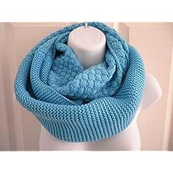 Blue_Neck warmer scarf Infinity scarf long Shawl circle (US Seller)