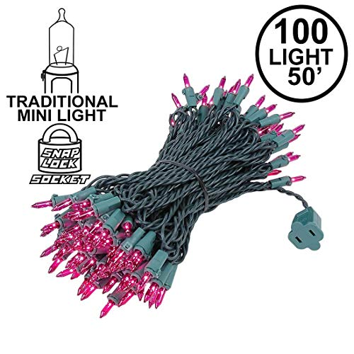 Novelty Lights 100 Light Purple Christmas Mini String Light Set, Green Wire, Indoor/Outdoor UL Listed, 50' Long