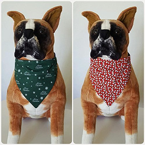 Reversible Bandana Merry Christmas, Winter, Snowflakes, Snowman, Scarf, Dog, Pet, Slip On Over The Collar, (Does Not Tie) 2 in ()