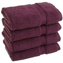 Superior 900 Gram 100% Premium Long-Staple Combed Cotton 4-Piece Hand Towel Set, Plum