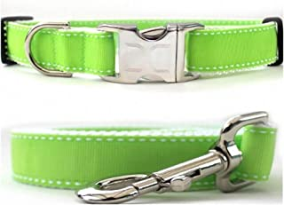 "product image for Diva-Dog 'Preppy Lime' Custom 1"" Wide Dog Collar with Plain or Engraved Buckle, Matching Leash Available - M/L, XL"