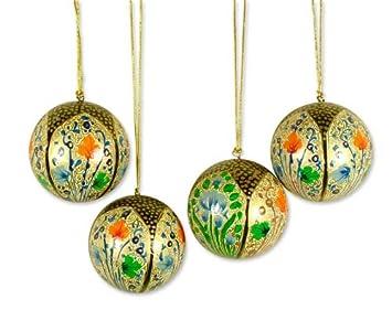 Christmas Ornaments Set 4 Papier Mache Handmade /'Holiday Joy/' NOVICA India