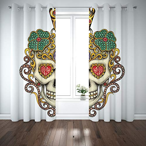 - SCOCICI Grommet Polyester Window Curtains Drapes [ Day The Dead,Sugar Skull Heart Pendants Floral Colorful Design Print Decorative,White Ivory Yellow] Living Room Bedroom Kitchen Cafe